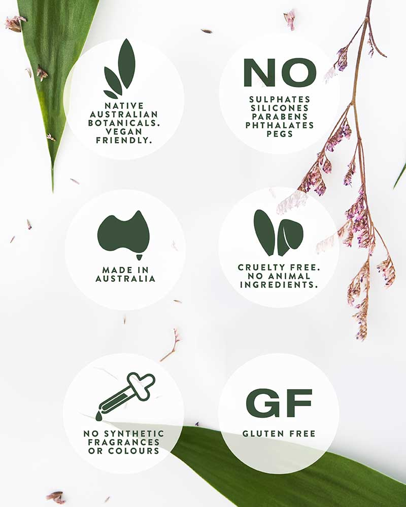 Benefits of Australian Native Botanicals including Vegan Friendly, No Sulphates, Cruelty Free, and more